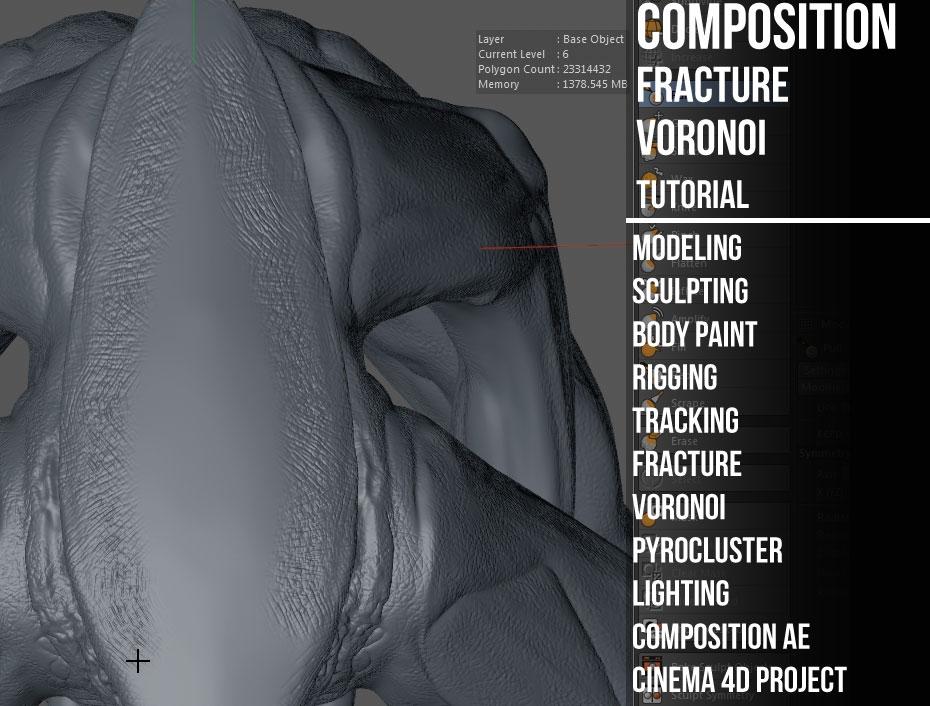creature composition fracture voronoi cinema 4d tutorials